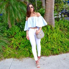 Elevate your #whitejeans this summer with an off-the-shoulder top & stilettosTop: @nicholasthelabel Jeans: @frame Bag: @chloe Shoes: @aquazzura by stylingbyfabianagill