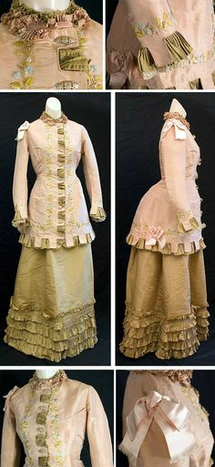 Day dress (probably), ca. 1875-80. Silk taffeta. Bodice is dusty rose; skirt is muted goldenrod. Pleated ruffles show through openings of tabbed bodice borders. Bodice is hand-embroidered with silk floss flowers. It closes in front with metal buttons. Small breast pocket on left side and two large pink satin bows on other side. Lined with ivory taffeta. Skirt is straight in front with cords inside to pull the fullness to the back over the bustle. Vintage Textile via web.archive