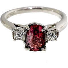 Pre-owned MK Red Spinel Diamond Platinum Ring ($4,195) ❤ liked on Polyvore featuring jewelry, rings, engagement rings, princess cut diamond engagement rings, cushion cut diamond ring, diamond jewelry and pre owned diamond rings #princessengagementring #cushioncutring