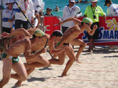 Men's Beach Relay Running Race
