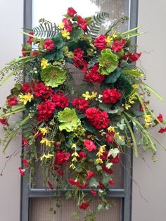 """SUMMER PLACE"" - XXL Vintage Chic Summer Geranium Poppy Petunia Forsythia Floral Wreath Decoration by DecorClassicFlorals, $ 159.95  on Etsy"