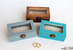 Wedding Ring Box, Wedding Boxes, Ring Bearer Box, Jewelry Box, Unique Jewelry, Personalised Box, Decoupage, Turquoise, Handmade Gifts
