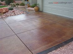 Stained Concrete Driveway-I would love to do something like this to my driveway and something similar for a patio area in the back Stained Concrete Driveway, Concrete Driveways, Concrete Patio, Concrete Floors, Plywood Floors, Stamped Concrete, Concrete Countertops, Laminate Flooring, Concrete Staining
