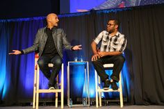 Comedians Keegan-Michael Key (left) and Jordan Peele of a Comedy Central sketch comedy show, 'Key & Peele,' talk to OSU students Oct. 10 at the Archie Griffin Ballroom.  Credit: Mark Batke / Photo editor