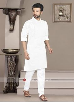 Pathani suit for mens online shopping Navy Color, Beige Color, Green Cotton, Cotton Silk, Engagement Dress For Men, Fancy Buttons, Eid Outfits, White P, White Fabrics