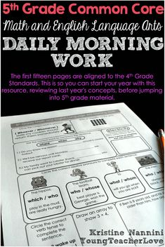 Grade Math and English Language Arts Daily Morning Work- Young Teacher Love by Kristine Nannini 5th Grade Writing, 5th Grade Math, Fifth Grade, Math Class, Maths, Special Education Teacher, New Teachers, 5th Grade Classroom, Science Classroom