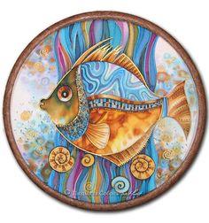 """Фэнтези ручной работы. Ярмарка Мастеров - ручная работа. Купить Батик """"Рыбец"""". Handmade. Батик, batik, украшение интерьера, золотой"""