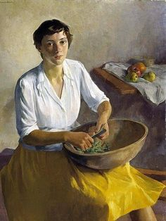 Ivan G. Olinsky - Russian-american artist (1878-1962) - Serviceman's wife 1942