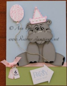 Punch Art Party Hippo by Stampsuser - Cards and Paper Crafts at Splitcoaststampers