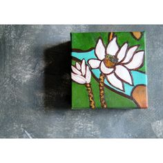 Lotus Flower Original Acrylic Painting Zen Water Lily Painting,... (€52) ❤ liked on Polyvore featuring home, home decor and wall art