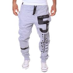 New Style Men Harem Pants Loose Letters Printed Pattern Long Leisure