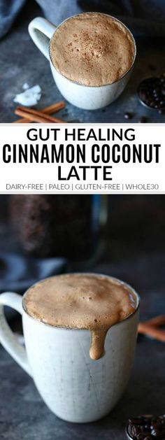 Gut Healing Cinnamon Coconut Latte dairy-free latte paleo latte latte gluten-free latte drink recipes healthy latte recipes The Real Food Dietitians Healthy Recipes, Real Food Recipes, Dessert Recipes, Cooking Recipes, Recipes Dinner, Whole Food Desserts, Vegetarian Recipes, Cheap Recipes, Bariatric Recipes