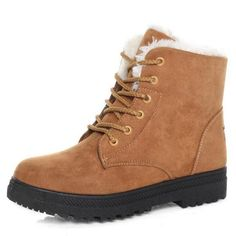 22.77$  Buy now - http://alillb.shopchina.info/go.php?t=32727576208 - Winter snow boots female short tube warm boots lace up round toe flat heel ankle boots for women winter shoes plus size 35-42 22.77$ #buyonline