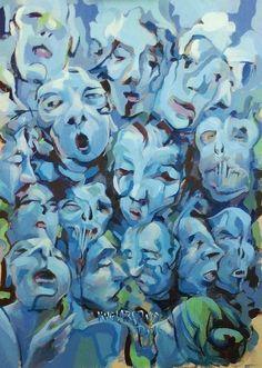 Kuglarstwo, Acrylic on plywood, 60x80cm #kuglarstwo #sleightOfHand #acrylicPainting #Georgina #tybur