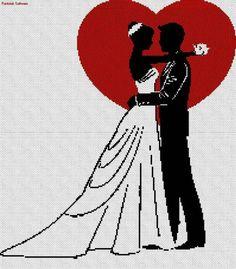 . Wedding Cross Stitch Patterns, Funny Cross Stitch Patterns, Cross Stitch Heart, Cross Stitch Designs, Cross Stitch Kits, Cross Stitching, Cross Stitch Embroidery, Modele Pixel, Graph Paper Art