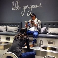 """""""What I notice when men come in for their first manicures and pedicures is their embarrassment,"""" says Jamie Ahn, Founder and Creative Director of Townhouse Spa in NYC. """"But more men come in for manicures and pedicures then they realize. Nail Salon Design, Nail Salon Decor, Beauty Salon Design, Beauty Salon Interior, Nail Spa, Manicure And Pedicure, Pedicures, Men Spa, Pedicure Station"""