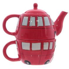 A teapot and cup in one.   27 Items All Tea Lovers Need In Their Lives--so cute--Double Decker Teapot!