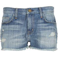 Current Elliott blue denim The Boyfriend shorts ($345) ❤ liked on Polyvore
