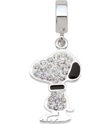 """Snoopy Silhouette is sparling Austrian crystal from the """"Peanuts by Persona"""" collection of silver beads and charms."""