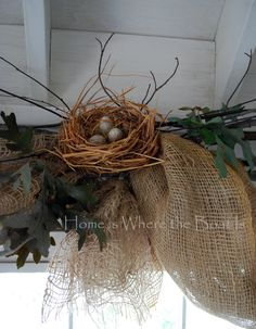 Potting Shed: Nesting & Window Dressing burlap window coverings, with twigs, nests, etc. This would work in a screened in porch or garden room. Burlap Window Treatments, Window Coverings, Kitchen Window Dressing, Window Dressings, Grapevine Wreath, Burlap Wreath, Cool Kitchens, Home Deco, Flower Arrangements