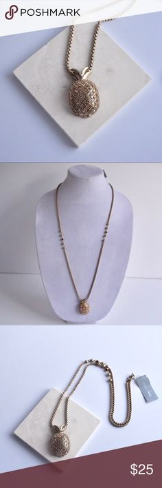 """Gold Pineapple 🍍 Necklace NWT all gold pineapple pendants on a long necklace. Pineapple has small glass stones. Necklace is approximately 30"""" in length. Lydell NYC Jewelry Necklaces"""