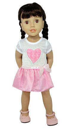 Be my Valentine!  This is the sweetest little dress featuring a big pink heart filled with little pink flowers and a gorgeous pink skirt with pink and white spotted ribbon bow tying it all together.