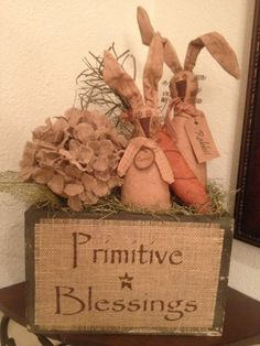 Primitive Blessings Easter Centerpiece Burlap Carrot Vintage Honey and Me Bunny