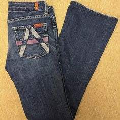 7 for all mankind organic cotton A pocket jeans Gorgeous pair of super soft organic cotton jeans! Size 27. Stretchy dark wash with factory fading. Inseam is 33 never hemmed. Worn only a handful of times. 7 for all Mankind Jeans Flare & Wide Leg