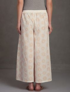 Buy Ivory-Pink Block Printed Tie-Up Waist Cotton Palazzos Online at Jaypore.com