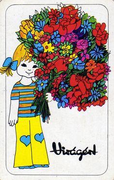 Virágért - 1975 - kártyanaptár - Hungarian retro