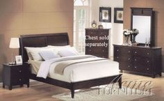 4pc Eastern King Size Bedroom Set Espresso Finish    #Bedroom-Sets #Furniture #Ikea-Bedroom #Home-Decor