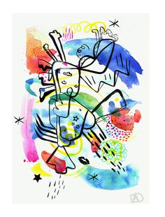 """ Catimini "" ,watercolor,pencils,paint,calligraphy brush..."