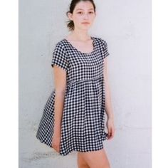 "AA Plaid/gingham printed babydoll dress Rayon printed plaid babydoll mini dress in black and white from American Apparel. Too short for me (I'm 5'4""), could use a good ironing. American Apparel Dresses Mini"