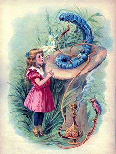 Vintage Graphic - Alice in Wonderland with Caterpillar - The Graphics Fairy