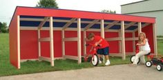Product Name: GARAGE TRIKE 6-BAY  Series: Storage Trike Ages: 0-5 Accommodates: 6-12 ADA Accessible: Yes Safety Zone Required: N/A Surfacing Required: N/A Borders Required: N/A Description: Storage building with six compartments for outdoor wheeled toys, gardening tools or bins of loose parts. Available with 2 Builder Panel Doors for each compartment.