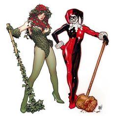 Poison Ivy - Catwoman - Harley Quinn - Adam Hughes - AH! Catwoman, Batgirl, Adam Hughes, Harley Quinn, Joker And Harley, Batman Comic Art, Batman Comics, Batman Robin, Gotham Batman