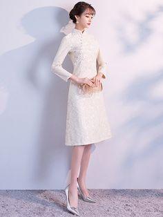 White A-Line Lace Qipao / Cheongsam Dress - CozyLadyWear Lace Outfit, Dress Outfits, Fashion Dresses, Women's Fashion, Simple Dresses, Beautiful Dresses, Short Dresses, Smart Dress, Cheongsam Dress