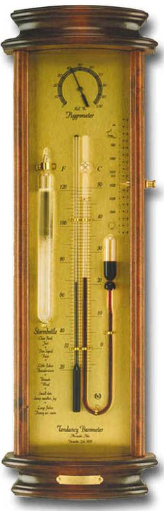 The Alexander Adie Tendency Barometer.  The beautiful mahogany stained wooden case with curved glass has an aluminum colored brass face plate with a Storm Glass mounted beside the tendency barometer tubes and a hygrometer mounted above the tubes. This is a dazzler.    The Tendency Barometer was patented on December 23, 1818 by Alexander Adie. It was used by Ross on his expeditions.     $299.95