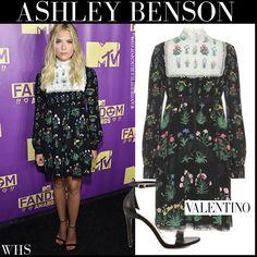 Ashley Benson in black floral print lace trimmed mini dress #ashleybenson #fashion #style #valentino #dress #floral