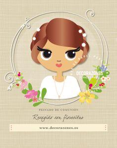 Decorazones.es _ Recogido con pequeñas flores. #peinadosdecomunión #primeracomunion #recordatoriosdecomunion