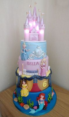 Inspiration Picture of Disney Princess Birthday Cake . Disney Princess Birthday Cake 4 Tier Disney Princesses Birthday Cake With An Illuminated Castle Disney Princess Birthday Cakes, Castle Birthday Cakes, Twin Birthday Cakes, Mickey Mouse Birthday Cake, Frozen Birthday Cake, Themed Birthday Cakes, Disney Birthday, Princess Party, 4th Birthday