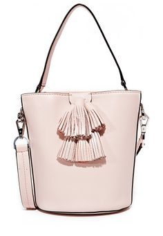 sofia top handle bucket bag by Rebecca Minkoff. A petite Rebecca Minkoff bucket bag accented with decorative tassels. The inset magnetic flap opens to a lined, 3 poc...