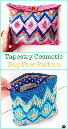 Crochet Purses Ideas Tapestry Cosmetic Bag Free Pattern -Tapestry Crochet Free Patterns - Wayuu Mochila Tapestry Crochet Free Patterns Tips Crochet Diy, Crochet Pouch, Crochet Bags, Crochet Ideas, Crochet Projects, Tapestry Crochet Patterns, Crochet Purse Patterns, Crochet Handbags, Crochet Purses