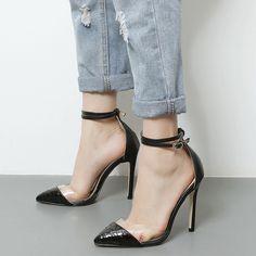Shoespie Trendy Two Part Ankle Wrap Stiletto Heels