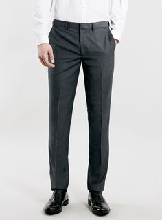 Grey textured skinny fit trousers