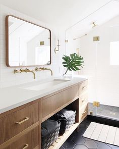 A bathroom necessity, a mirror can be so much more than functional. Our solid walnut rectangular mirror is stylish and durable, plus it comes in two sizes to accomodate a variety of bathroom setups. Bathroom Cabinet Ideas to Tidy up Your Bathroom Bad Inspiration, Bathroom Inspiration, Bathroom Renos, Bathroom Ideas, Bathroom Vanities, Bathroom Bin, Master Bathrooms, Bathroom Organization, Attic Bathroom