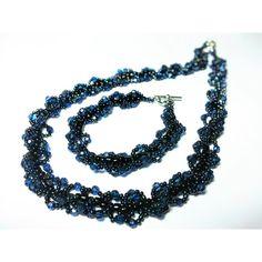 Dark Blue Beaded Spiral Rope jewelry set Bracelet Necklace, Handmade... (835 UAH) via Polyvore featuring jewelry, necklaces, bead jewellery, beaded jewelry, blue bead necklace, spiral necklace и beading necklaces