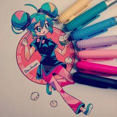 China Miku o3o la dibujé basándome en una figura que tengo de ella con ese…