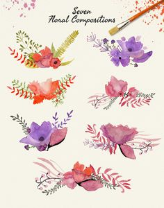 Watercolor abstract flowers - Illustrations - 2