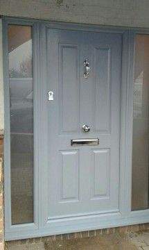 Not sure what composite door you want? Take a look at some of the beautiful comp. - Not sure what composite door you want? Take a look at some of the beautiful composite door installa - Grey Front Doors, Front Door Porch, Porch Doors, Front Porch Design, Front Door Entrance, Painted Front Doors, House Front Door, Front Door Colors, House With Porch